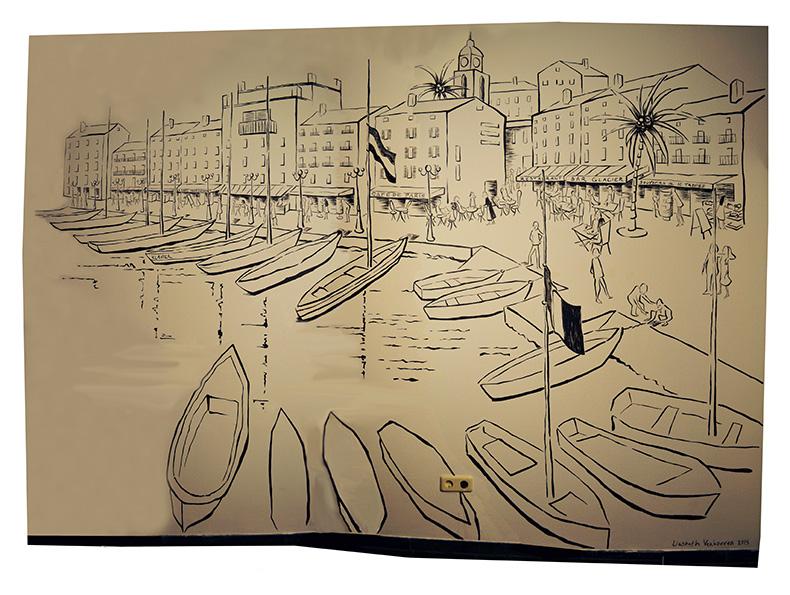 Muurschildering Liesbeth Verhoeven - Tropez