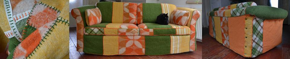bank groen-oranje gebruikte dekens Zilli's Cover Revive